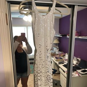 Backless silver/white beaded dress